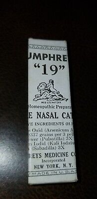 Antique Humphreys Homeopathic Medicine NOS #19 Simple Nasal Catarrh