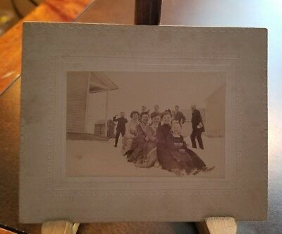 RARE 1800S PHOTO - Early winter scene kids playing in snow at a school or church