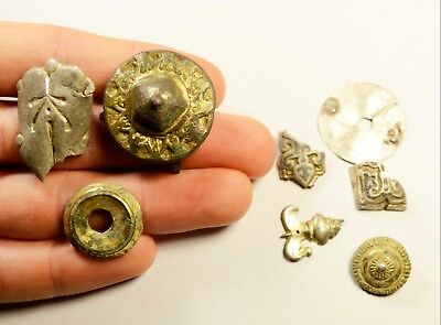 Rare Lot Of 8 Ancient Artifacts - Silver / Silver Plated & Gilded