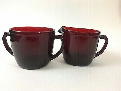 Anchor Hocking Royal Ruby Sugar Creamer Set Red Vintage Glass Excellent KD