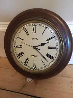 Smiths of London vintage wood and brass school/ station clock