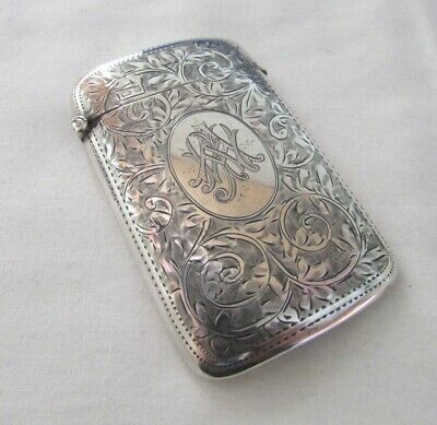 Lovely Solid Sterling Silver Curved Calling Card Case By William H Sparrow 1919