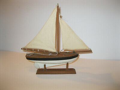 Wooden Sailboat Model Vintage Nautical Decor With 2 Linen