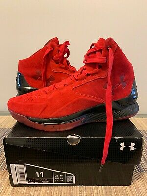 542673baa1cfb 2016 UNDER ARMOUR UA Curry 1 I Lux Mid Suede Size 11 Black Red ...
