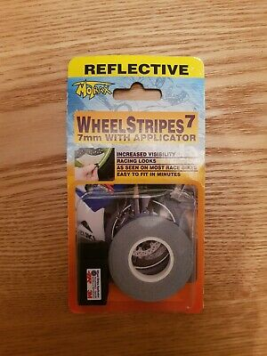 Motrax Wheel Stripes 7mm REFLECTIVE BLUE with applicator Tape Bike Motorcycle