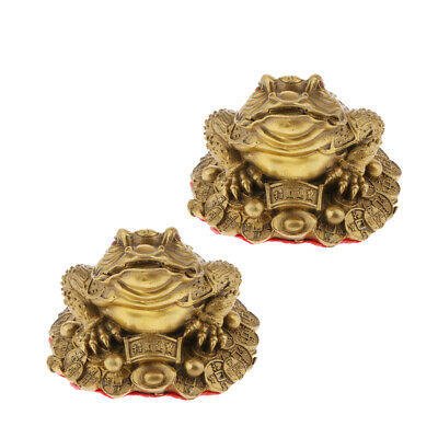2Pcs Size_S Chinese Feng Shui LUCKY Fortune Frog Toad Tabletop Ornaments