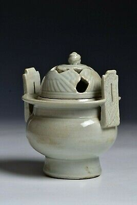 Chinese Song Dynasty  Qingbai Celadon Covered  Censor w/ Birds & Characters