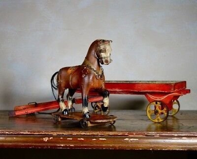 Antique 19th Century Folk Hand Painted Carved Pull Horse Toy Display