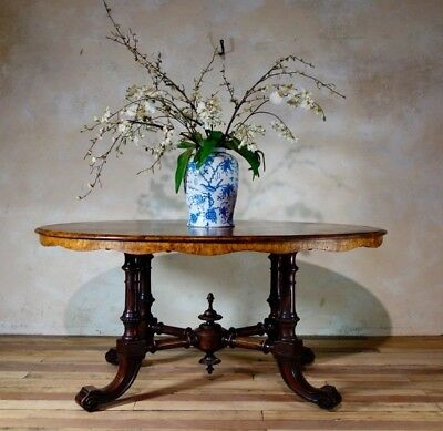 RESERVED Antique Large Victorian Walnut Breakfast Table Oval Veneer Centre