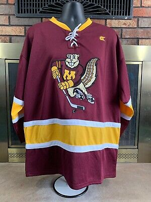 0635d9867 Vintage Embroidered Minnesota Golden Gophers NCAA Hockey Jersey Mens Size  Large