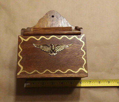 Vintage Wall Mounted Wooden Recipe Box w/Brass Eagle Ornament