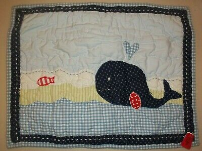 Pottery Barn Kids Baby Jackson Quilted Sham Blue Whale Nursery Toddler #1364
