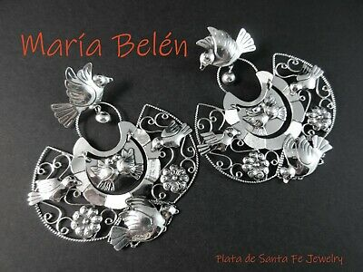 "Maria Belen ~Romantic ""Palomas in Flight"" ~Wide Filigree Mexican 925 Earrings"