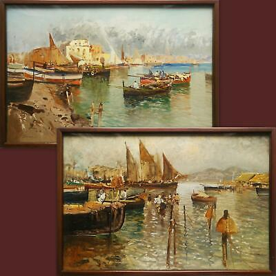 Pair E. Briante Signed Original Impressionist Painting Of Vintage Coastal Marina