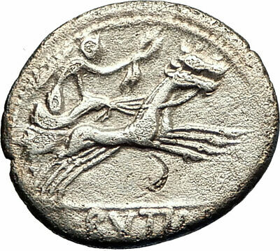 Roman Republic 77BC Ancient Silver Coin ROMA VICTORY Horse CHARIOT  i76842
