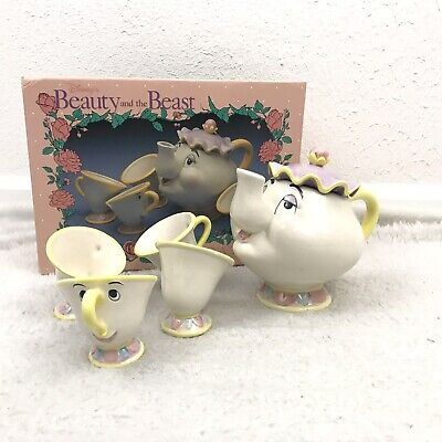 Vintage Disney Store Beauty And The Beast Tea Set Toy China Mrs