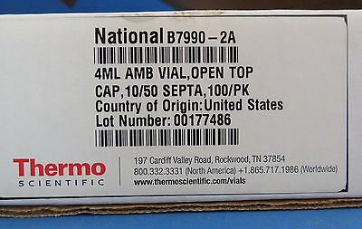 Pk/100 Thermo Scientific National Amber 4mL Glass Vials & Caps B7990-2A