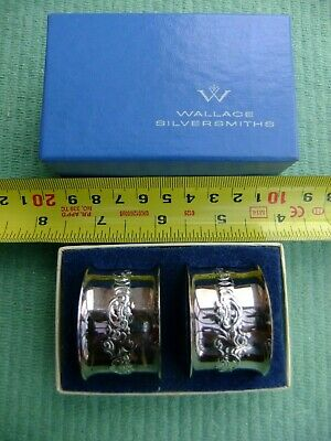 Pair of Wallace Baroque Napkin Rings In Box Silver Plate Set 734