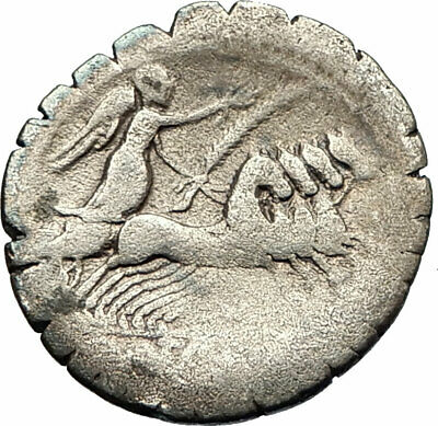 Roman Republic 83BC Ancient Silver Coin of Rome Jupiter Victory Chariot  i76843