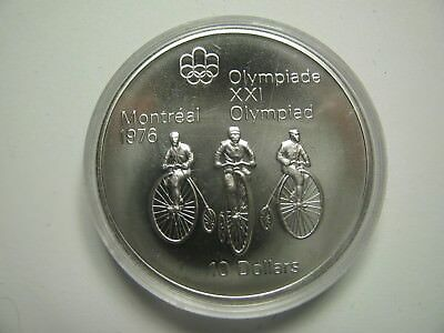 1974 BU $10 1976 Montreal Olympics #11-Cycling COIN ONLY Canada .925 silver ten