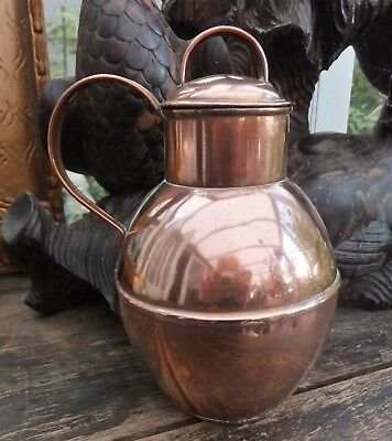 Antique Copper Guernsey Cream Jug Pitcher Martins Made Tin Lined Tableware