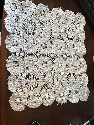 Antique hand done Cut Work  set/6 napkins placemats Intricate patterns  11 x 12