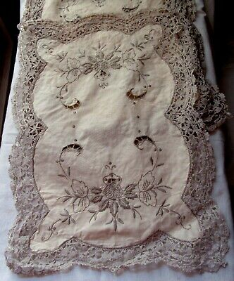 """Vintage Set Of 6 Ecru And Lace Madeira 17"""" X 12"""" Placemats"""