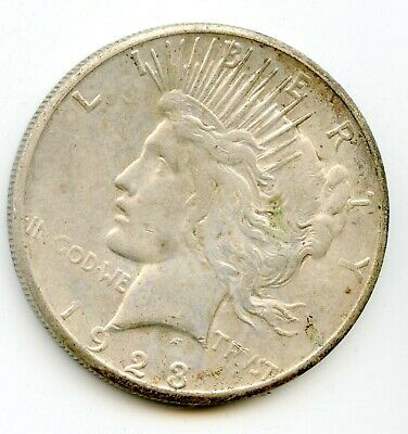 1923 S Peace Silver Dollar $1 United States 90% Silver Coin     (2)