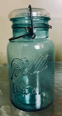 Ball Blue Ideal Mason Jar Lid Wire Clear Glass Bail Date 1923 -1933 USA