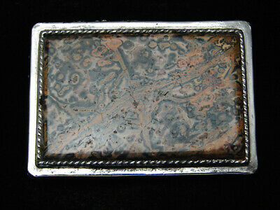 RB13173 VINTAGE 1970s **MULTI-COLOR AGATE STONE** WESTERN & COWBOY BELT BUCKLE