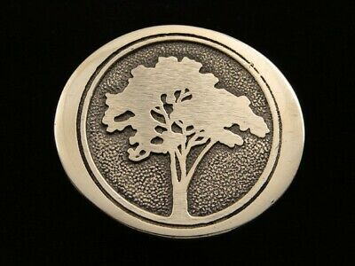 RD17152 VINTAGE 1970s **SILHOUETTE TREE** NATURE ART SOLID BRASS BTS BELT BUCKLE