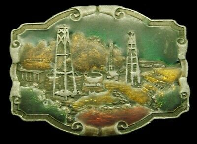 RD20151 VINTAGE 1970s **STANDARD OIL DERRICKS** CRUDE OIL OILFIELD BELT BUCKLE