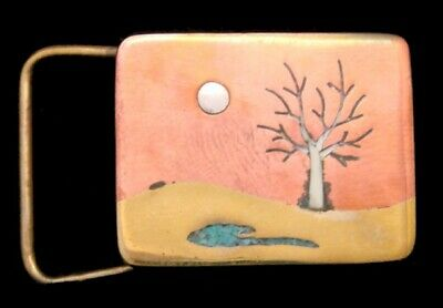 Ra08154 *Nos* Small 1995 **Tree** Silhouette Nature Artwork Solid Brass Buckle