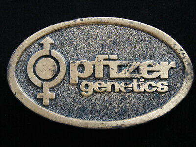 RF11107 VINTAGE 1970s **PFIZER GENETICS** ADVERTISEMENT BELT BUCKLE