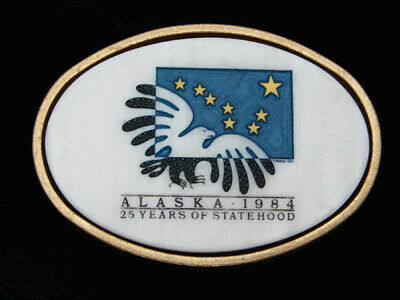 Qe05142 *Nos* Vintage 1984 **Alaska** Statehood Commemorative Solid Brass Buckle