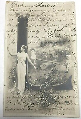 """Vintage Postcard Initial """"L"""" Victorian Lady & Children On See Saw, Unposted"""