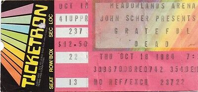 Grateful Dead Ticket Stub  10-18-1984  Meadowlands Arena