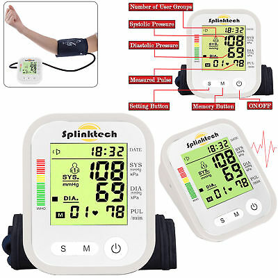 Portable Auto Digital Upper Arm Blood Pressure Monitor Home Measurement Machine