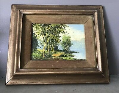 Vintage Original Landscape Oil Painting Signed Wilson Framed 10.5x12.5