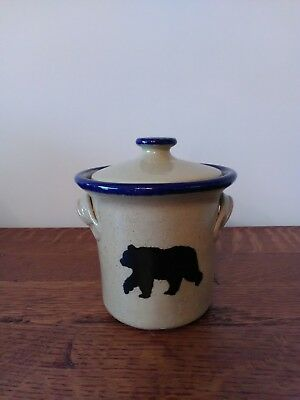 Monroe salt works pottery small Bear Cannister with Lid