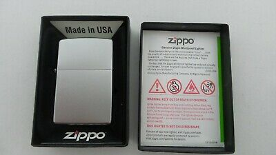 Zippo Windproof REG Satin Finish Chrome Pocket Lighter 67108R NEW