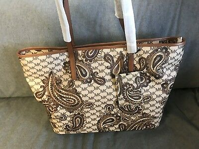 58f55b8f9a8b12 Michael Kors Studio Collection Luggage Heritage Paisley Emry Large Tote  Purse