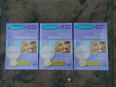 Lot of 3 Lansinoh Stay Dry Disposable Nursing Pads M 60 Units - 180 Total Pads