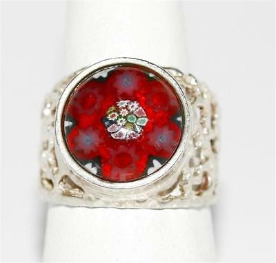 Ladies Vintage Sterling Silver Murano Millefiori Glass Ornate Ring Size 7