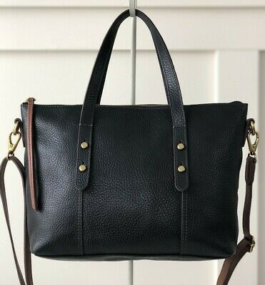 FOSSIL JENNA Satchel Shoulder Handbag Crossbody Tote Purse Black Leather $178