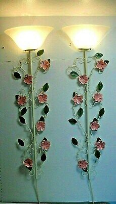 pr wrought Iron tole ware shabby chic Wall Mount Electric Light Fixture Sconces