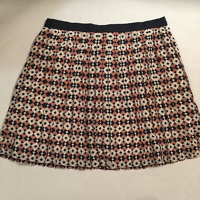 7b80aefc1 J. Crew Navy Blue Pink Diamond Tile Geometric Print Silk Pleated Skirt Size  8