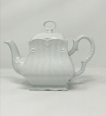Vintage Teapot Peppertree Tabletops Fine Porcelain Milk White Scalloped