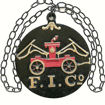 Vintage Cast Iron FIC Firefighter Insurance Co Plaque Fire Marker Sign & Chain