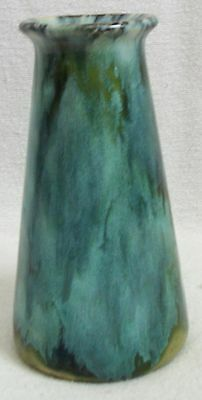 arts and crafts  Brush McCoy green onyx glazed pottery vase